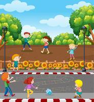 Enfants jouant à un jeu de mathématiques sur un terrain de jeu