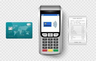 machine de paiement, terminal postal avec reçu de caisse et carte de crédit isolé sur fond transparent, illustration vectorielle vecteur