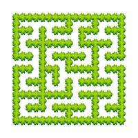 labyrinthe carré abstrait - jardin verdoyant, arbustes. jeu pour les enfants. casse-tête pour les enfants. une entrée, une sortie. énigme du labyrinthe. illustration vectorielle. vecteur