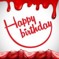 Modèle de carte d'anniversaire avec de la confiture de fraises vecteur