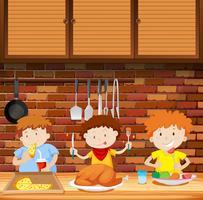 Enfants mangeant un repas ensemble vecteur