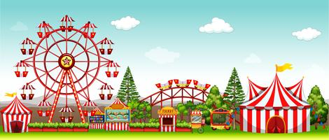 Parc d'attractions pendant la journée vecteur