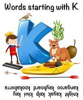 Mot commençant par la lettre K vecteur