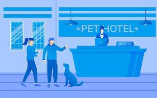 illustration vectorielle plane de l'hôtel pour animaux de compagnie. invités avec animal près de la réception. réceptionniste travaillant avec un ordinateur à la réception. processus d'inscription, enregistrement. personnes avec des personnages de dessins animés pour chiens vecteur