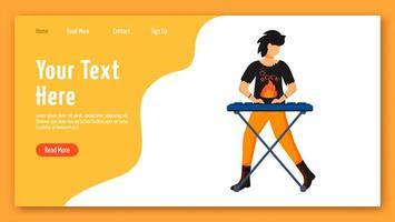 modèle de vecteur de page de destination de claviériste. idée d'interface de site Web de joueur de clavier avec des illustrations plates. mise en page de la page d'accueil du musicien. bannière web de membre de groupe de musique, concept de dessin animé de page web