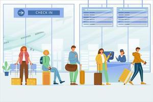 vérifier dans l'illustration vectorielle plane de la zone aéroportuaire. voyageurs avec bagages à l'enregistrement à l'embarquement, panneau de départ. passagers d'avions. Voyage en avion. file d'attente des touristes pour vérifier les personnages de dessins animés du bureau vecteur