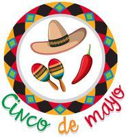 Affiche Cinco de Mayo avec chapeau et maracas