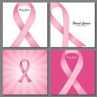 ensemble de collection de fond ruban rose sensibilisation au cancer du sein ve vecteur
