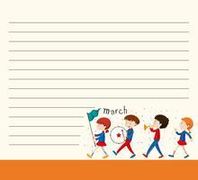 Modèle de papier de ligne avec des enfants en bande scolaire