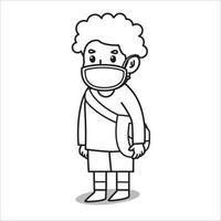 garçons utilisant un sac à bandoulière après l'illustration de dessin animé de l'école, rester et attendre quelque chose. en utilisant un masque et un protocole sain. illustration de caractère. vecteur