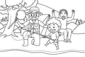 maman, papa et fils vont pêcher et camper au bord de la rivière, entourés de vues sur les arbres, les arbustes et les montagnes. couleur noir et blanc. illustration de livre de coloriage. vecteur