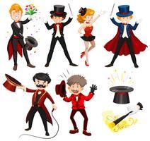 Ensemble de divers artistes de cirque vecteur