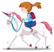 Une jeune fille à cheval vecteur