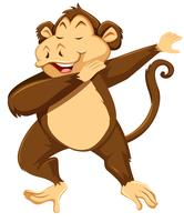 Un singe tamponner sur fond blanc