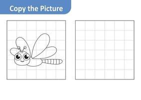 copier la feuille de travail photo pour les enfants, vecteur de libellule