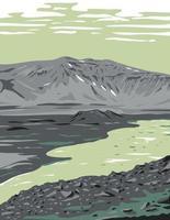 caldeira dans la nature sauvage reculée de la péninsule d'alaska dans le monument national d'aniakchak et préserver l'art de l'affiche wpa des états-unis vecteur