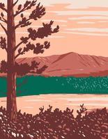 mont katahdin maine nord bois et rivière coulant dans les bois et eaux de katahdin monument national dans le comté de penobscot maine etats-unis wpa poster art vecteur