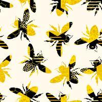 Motif géométrique sans couture avec abeille. vecteur