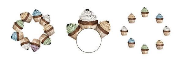ensemble de cupcakes colorés design cadre rond. illustrations à l'aquarelle. vecteur