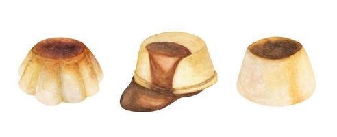ensemble de puddings à la vanille. illustrations à l'aquarelle. vecteur