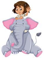 Jeune fille et éléphant