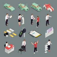 concessionnaire automobile icons set vector illustration
