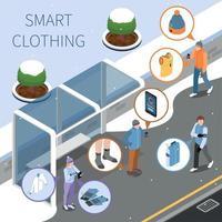 illustration vectorielle de composition de vêtements intelligents d'hiver vecteur