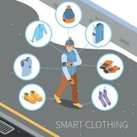 illustration vectorielle de composition de vêtements d'hiver intelligents vecteur
