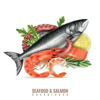 illustration vectorielle de saumon de fruits de mer composition réaliste vecteur