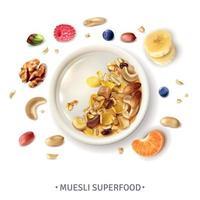 illustration vectorielle de muesli superfood composition réaliste vecteur