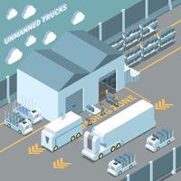 voitures autonomes composition isométrique vector illustration