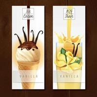 dessert vanille bannières réalistes vector illustration