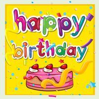 Carte d'anniversaire avec un gâteau rose vecteur