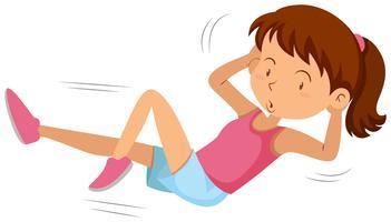 Jeune fille faisant des exercices d'estomac vecteur