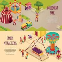 parc d'attractions bannières isométriques vector illustration