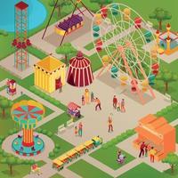Parc d'attractions du cirque illustration isométrique vector illustration