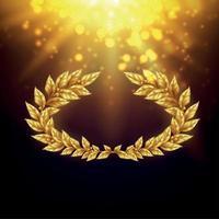 fond brillant avec illustration vectorielle de couronne de laurier doré vecteur