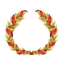 couronne de laurier doré avec illustration vectorielle de ruban rouge vecteur