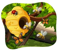 Abeilles et insectes dans l'arbre vecteur