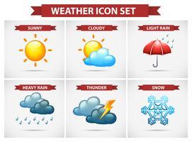 Icône météo définie avec de nombreuses conditions météorologiques vecteur
