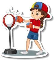autocollant de personnage de dessin animé avec une fille qui frappe vecteur