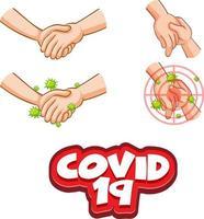 conception de polices covid-19 avec virus se propageant en serrant la main vecteur