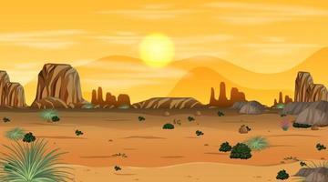 paysage de forêt désertique vide au coucher du soleil scène vecteur