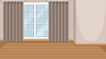 salle vide avec fenêtre et parquet en bois vecteur