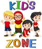 Bannière internationale de personnages d'enfants vecteur
