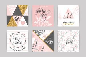 Jeu de cartes de voeux avec des fleurs de fête des mères heureux lettrage.