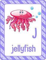 flashcard de l'alphabet avec la lettre j pour les méduses vecteur