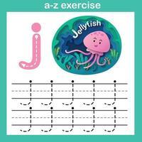 Lettre de l'alphabet j-exercice de méduses, papier découpé concept vector illustration