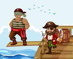 scène avec un homme marchant sur la planche du navire vecteur