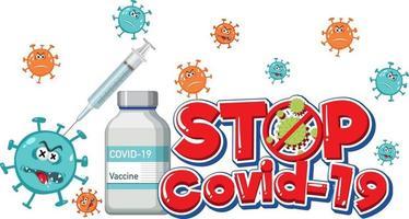 arrêtez le logo ou la bannière covid-19 avec une bouteille de vaccin covid-19 vecteur